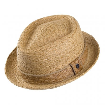 Hats - Raffia Diamond Crown Pork Pie (natural)