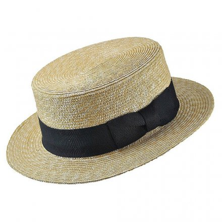 Hats - Straw Boater Hat Black Band (natural)
