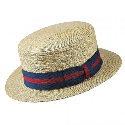 Hats - Straw Boater Hat Striped Band (natural)