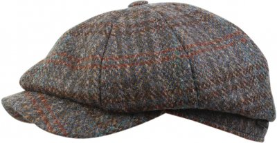 Flat cap - Wigéns Harris Tweed Classic Newsboy Cap (blue)