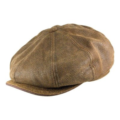 Flat cap - Stetson Burney Leather Flat Cap (brown)