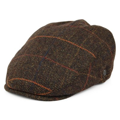 Flat cap - Jaxon Glasgow Windowpane Flat Cap (olive-brown)