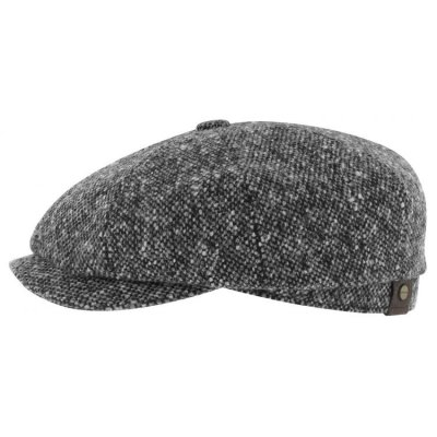 Flat cap - Stetson Hatteras Donegal Tweed (black-white)