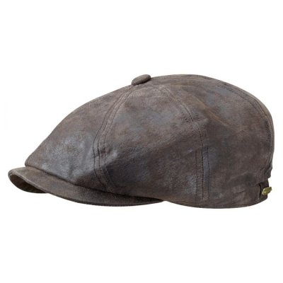 Flat cap - Stetson Hatteras Leather Flat Cap (brown)