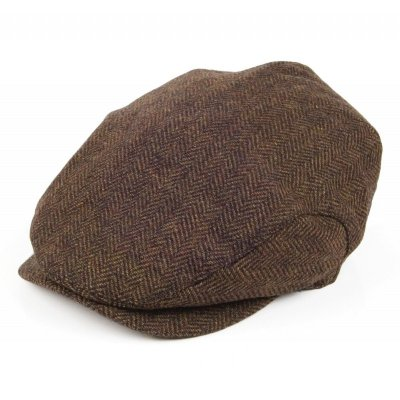 Flat cap - Jaxon Herringbone Extended Bill (brown)