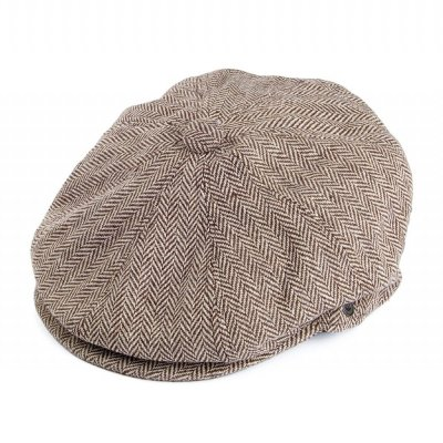 Flat cap - Jaxon Herringbone Newsboy Cap (brown)