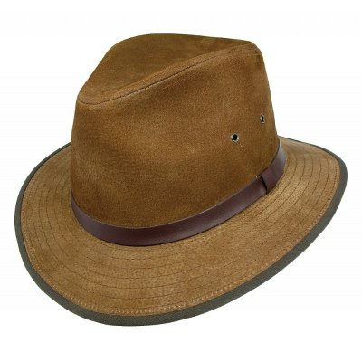 Hats - Nubuck Leather Safari Fedora (brown)