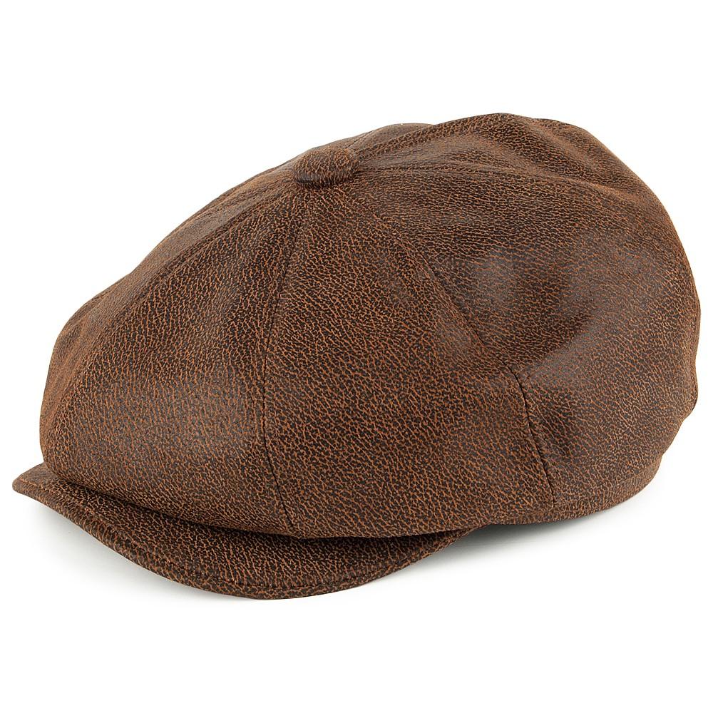 09f8d0de6a003 Flat cap - Jaxon Hats Leather Newsboy Cap (brown)